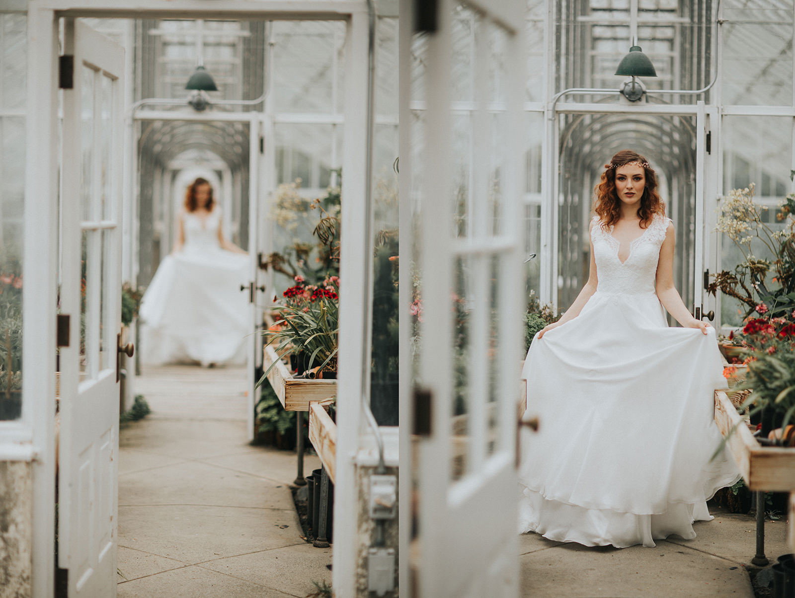 Myrtle and Moss Photography Hatley Castle Greenhouse Styled Bridal Session by Victoria's best in the Wedding Industry. Briellen Lockhart, Tres Chic Bridal, Lis Simon, Beauty & Style by Erin Bradley, Trend Decor, Ecstatic Lash and Brows.