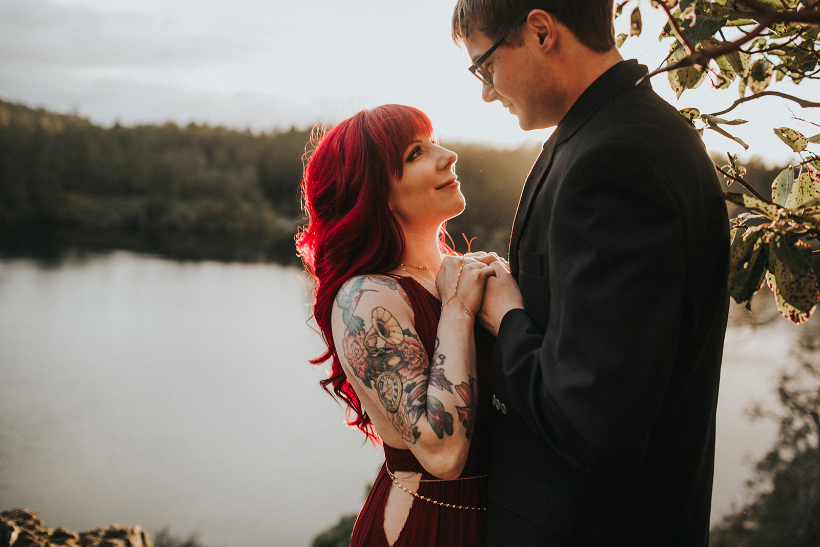 Love Letter Engagement Session at Thetis Lake, Red Dress, Myrtle and Moss Photography, Victoria Wedding Photographer